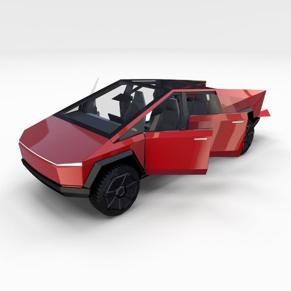 Tesla Cybertruck with interior Red - 3DOcean Item for Sale