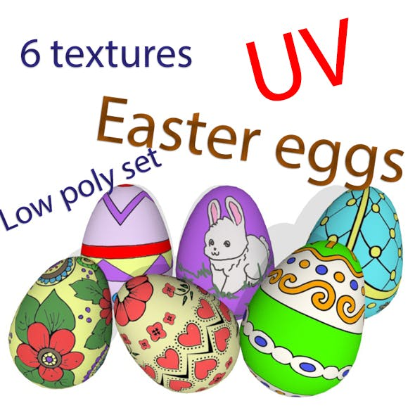 Low Poly Set Easter Eggs