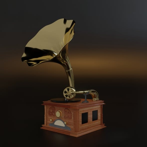 An antique gramophone. A gramophone from old-fashioned. To subdivision surface ready.