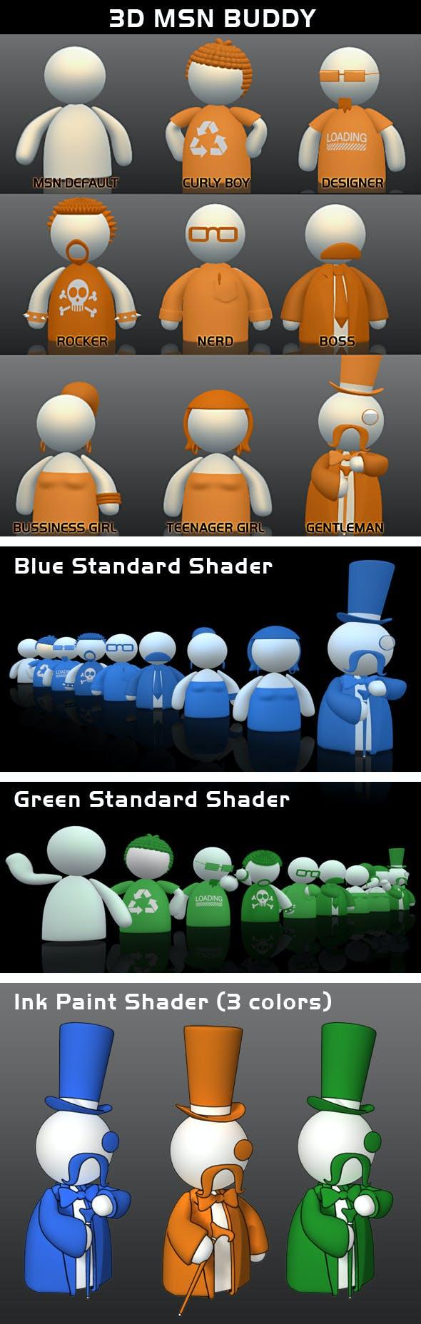 3D MSN buddy (pack) - 3DOcean Item for Sale