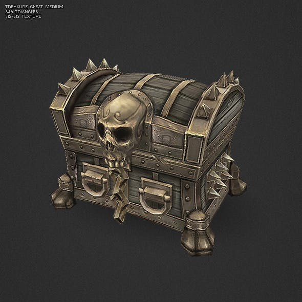 Low Poly Treasure Chest - Medium