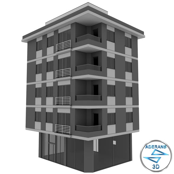 Simple Building; 4-Storey, Low-Poly Model with Terrace and Store