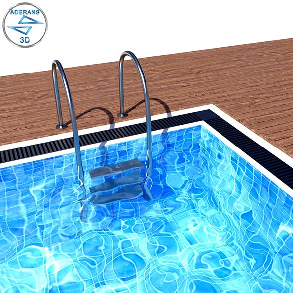 Swimming Pool with Ladder and Wooden Floor