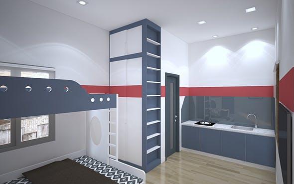 3d model interior + rendering of aparment service room for rent - 3DOcean Item for Sale