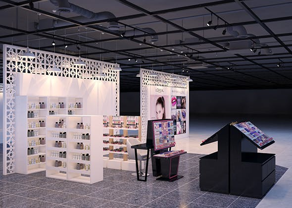 3d interior of Cosmetic Lipstick shop - 3DOcean Item for Sale