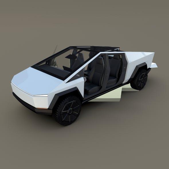 Tesla Cybertruck with interior White