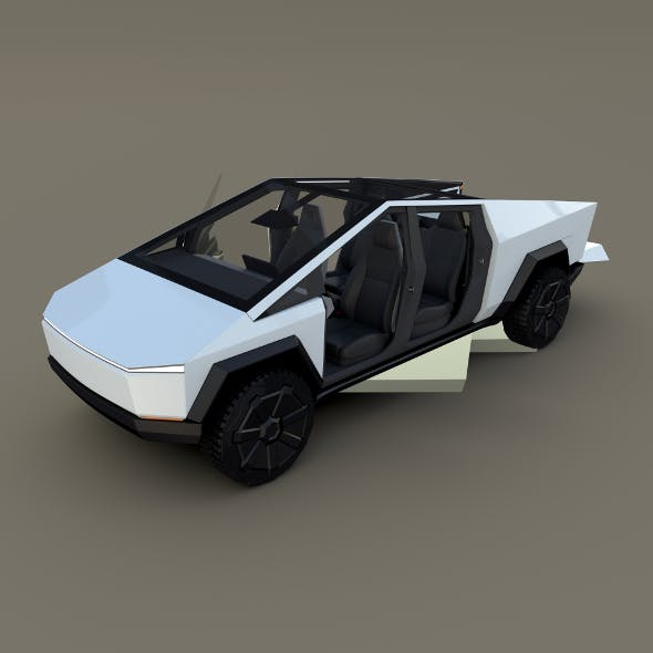 Tesla Cybertruck with chassis and interior White