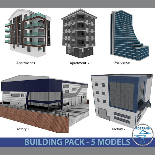 Building Pack (5 Buildings of Residental and Industrial)