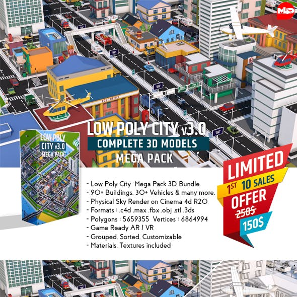 Low Poly City Mega Pack v3.0