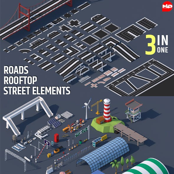 Roads, Rooftop & Street Elements 3 in 1