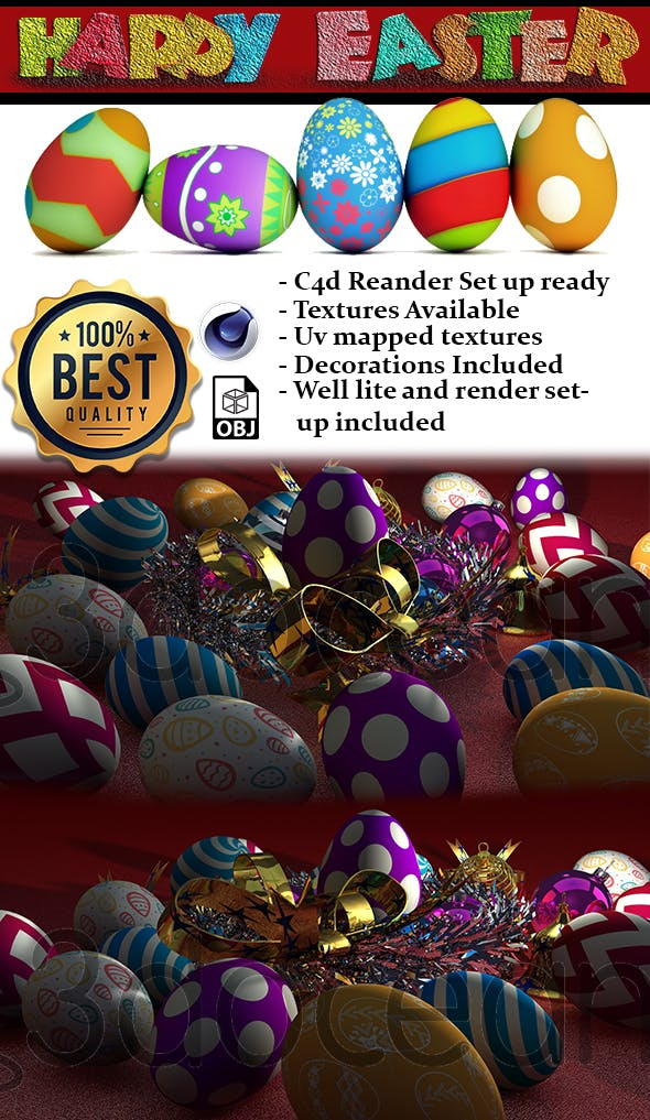 Easter eggs and Decorations - 3DOcean Item for Sale