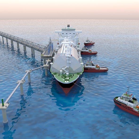 Berthing of the Tanker Ship - 3DOcean Item for Sale