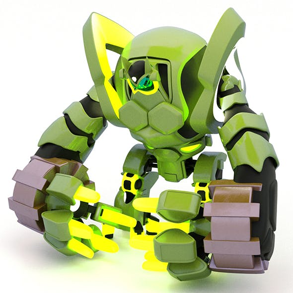 3d Model of a Robot for games and toys green