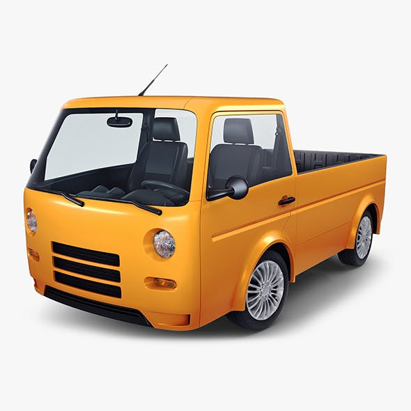 Kei Truck Concept Retro Style Orange - 3DOcean Item for Sale