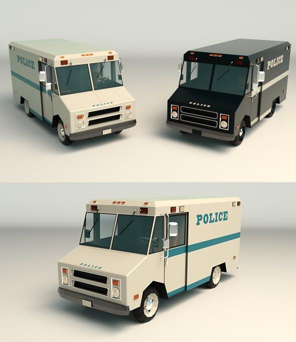 Low Poly Police Van 03 - 3DOcean Item for Sale