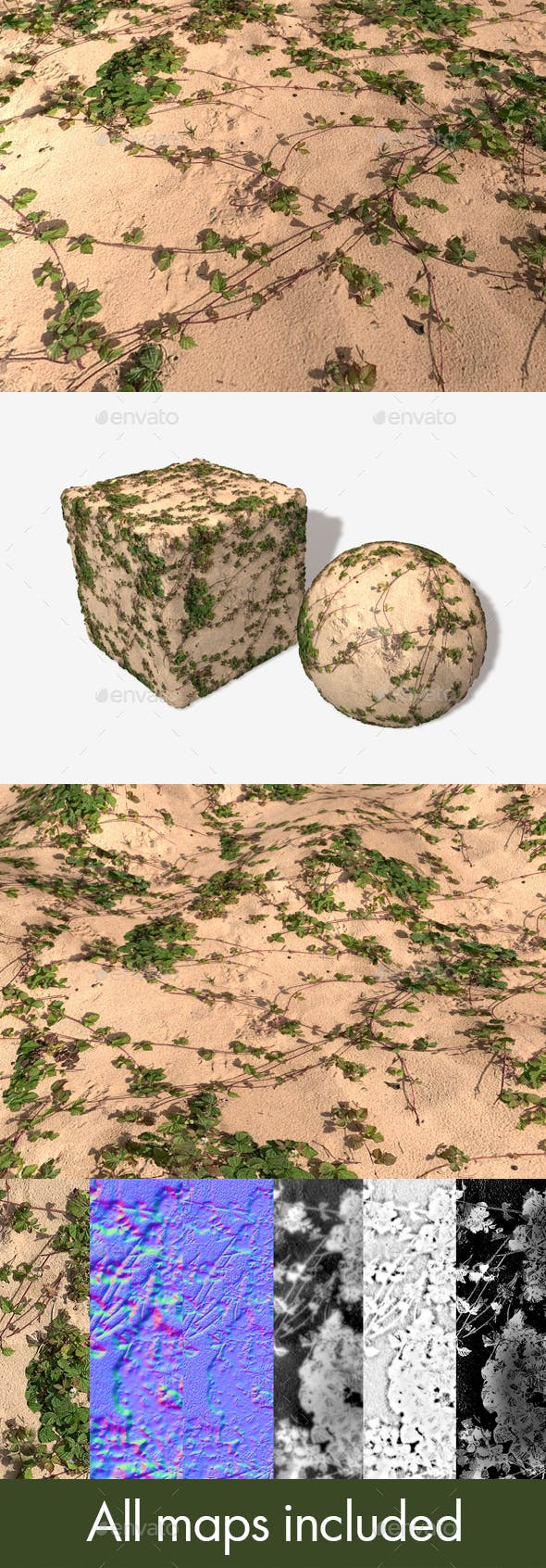 Vines on Sand Seamless Texture - 3DOcean Item for Sale