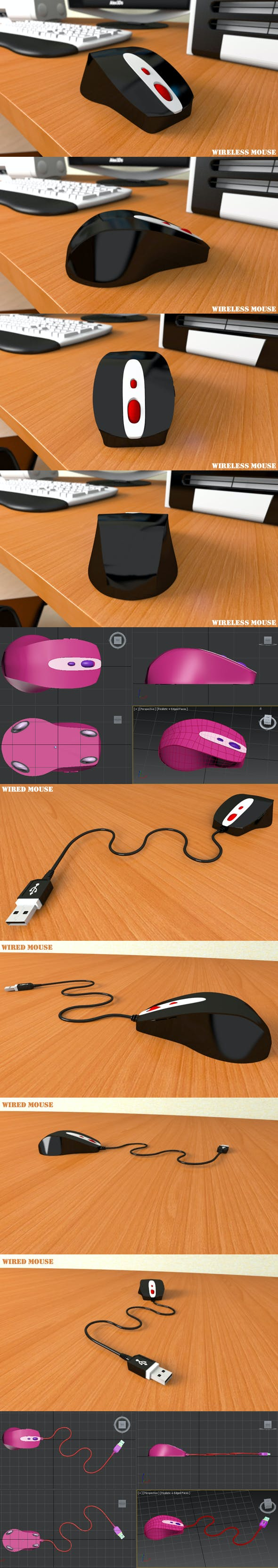 Wired Mouse and Wireless Mouse - 3DOcean Item for Sale