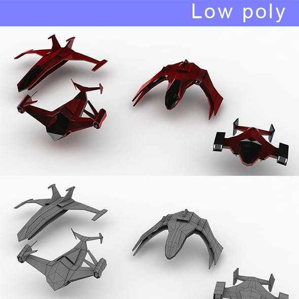 Low-poly Space ships (set 5)