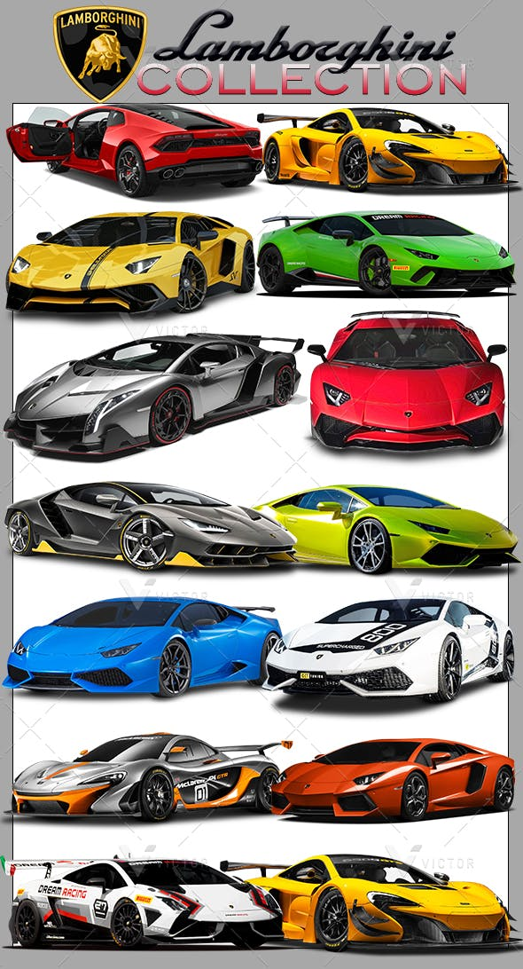 50 Lamborghini Cars Pack - 3DOcean Item for Sale