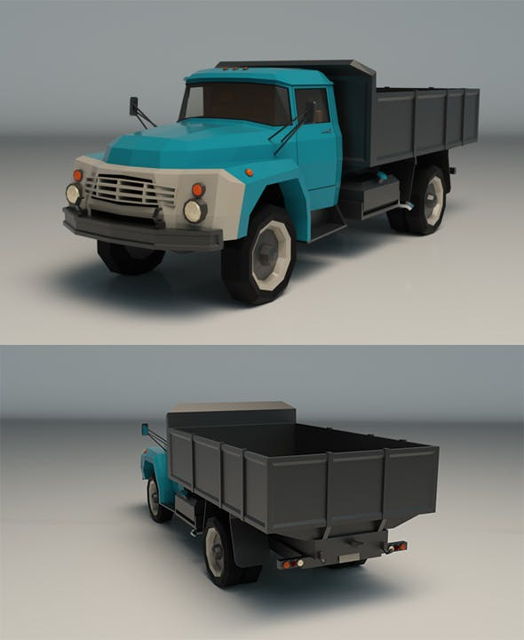 Low Poly Vintage Truck 02 - 3DOcean Item for Sale