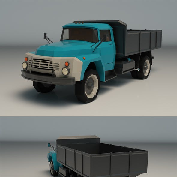 Low Poly Vintage Truck 02