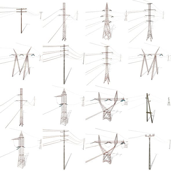 Electricity Pole Weathered Pack - 3DOcean Item for Sale
