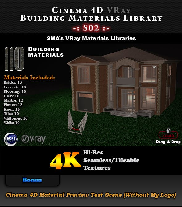 110 x VRay Building Materials S02 for Cinema 4D - 3DOcean Item for Sale