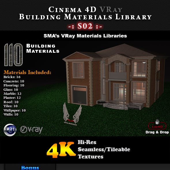 110 x VRay Building Materials S02 for Cinema 4D