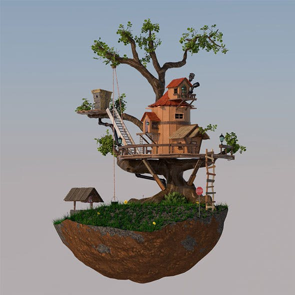 Toon Tree House & Environment - 3DOcean Item for Sale