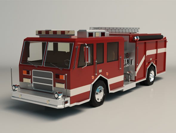 Low Poly Fire Truck 04 - 3DOcean Item for Sale