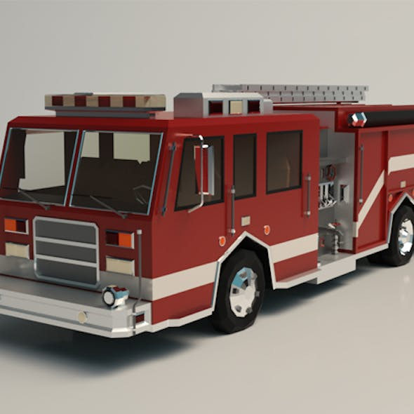 Low Poly Fire Truck 04