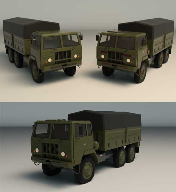 Low Poly Military Truck 04 - 3DOcean Item for Sale