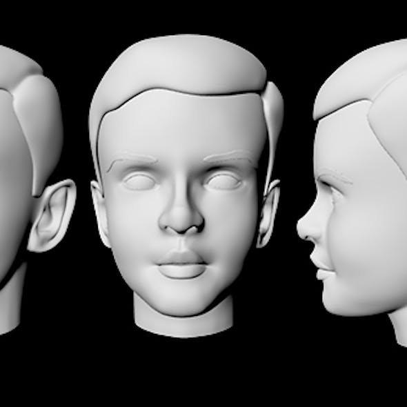 Teenager Head Low Poly Base Mesh