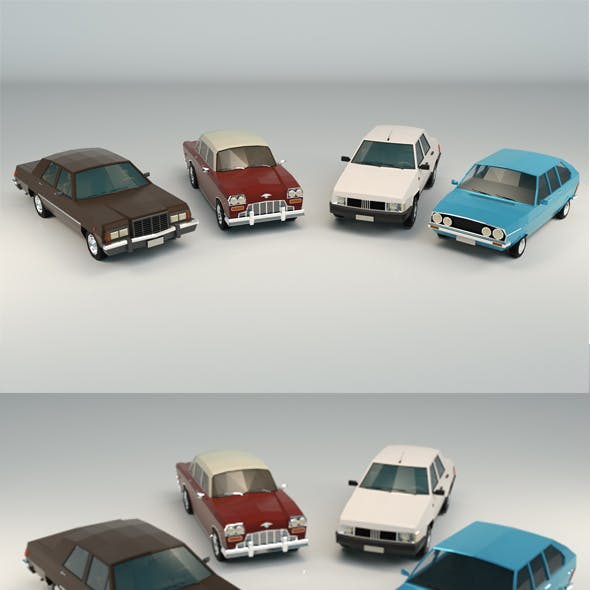 Low Poly Sedan Car Pack 01