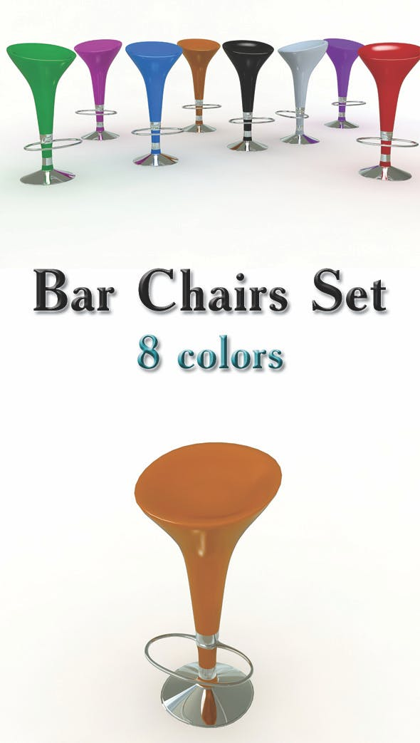 Bar Stools Set - 3DOcean Item for Sale