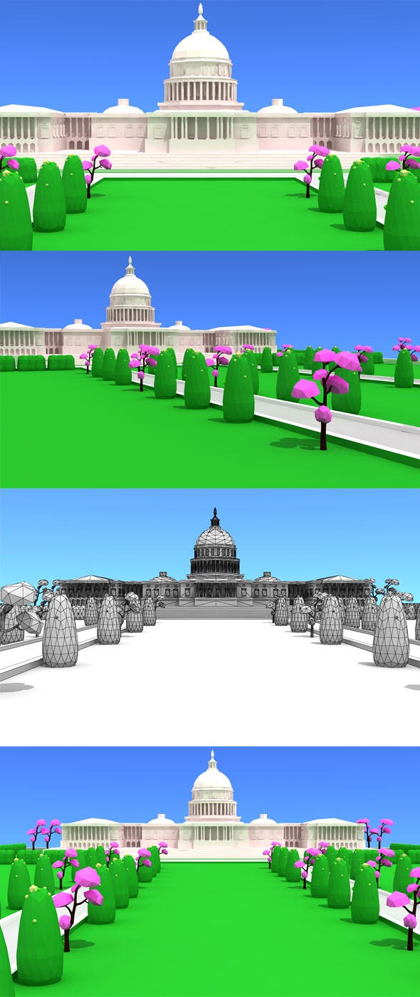 Washington DC Low Poly Model - 3DOcean Item for Sale