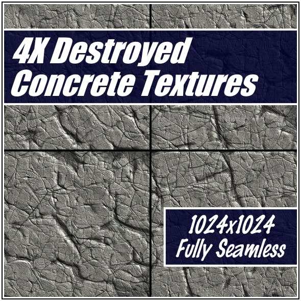 Destroyed Concrete Textures - 3DOcean Item for Sale