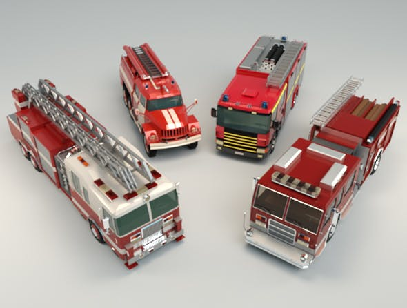 Low Poly Fire Truck Pack - 3DOcean Item for Sale