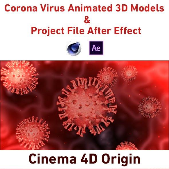 Corona Virus Animated 3D Models & Project File AE