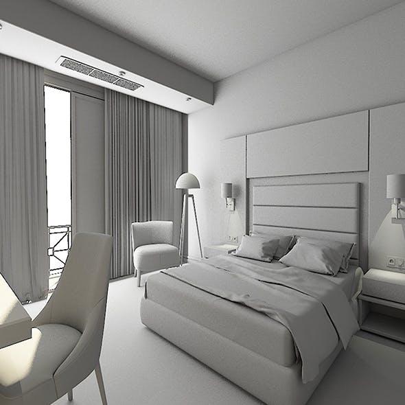 Hotel Room İnterior Model Scene And Render Setup