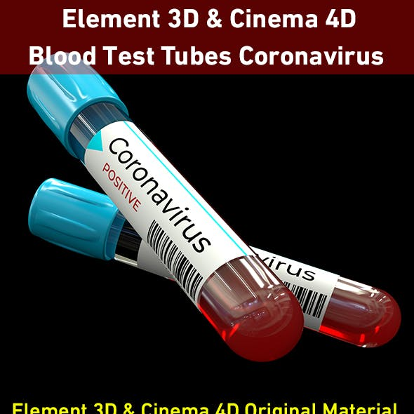 Blood Test Tubes Coronavirus 3D Model