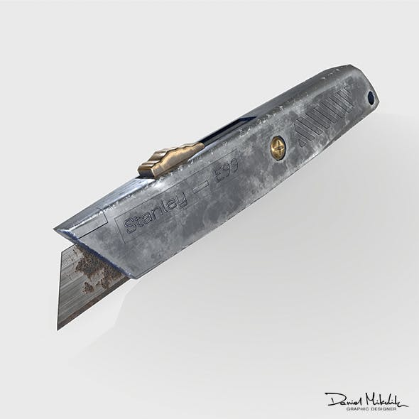 Box Cutter Low Poly PBR model