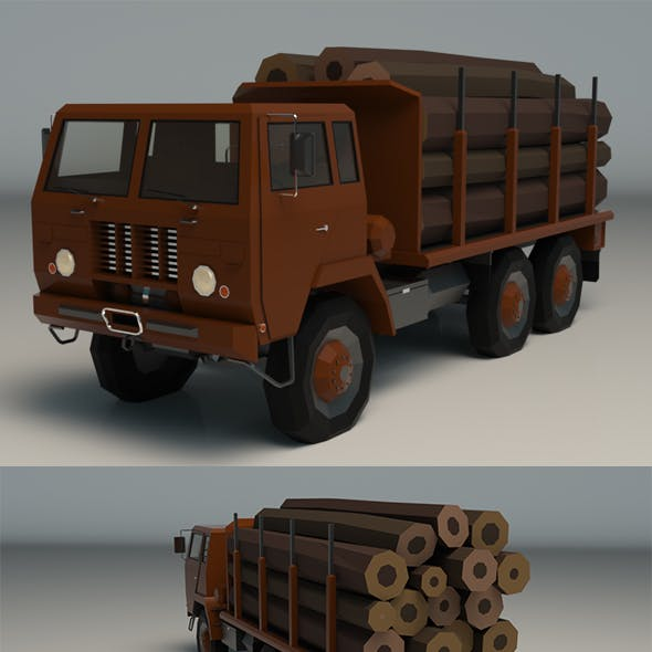Low Poly Logging Truck 01