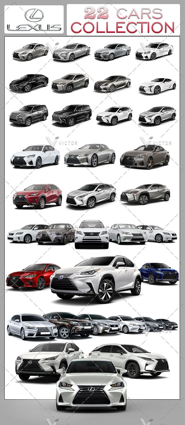 22 Lexus Cars Collection Pack By Vikibwire 3docean