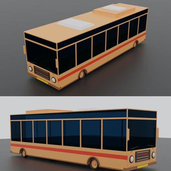 Low Poly Bus | Game Ready School Bus |Cartoon Bus | Low-poly 3D model