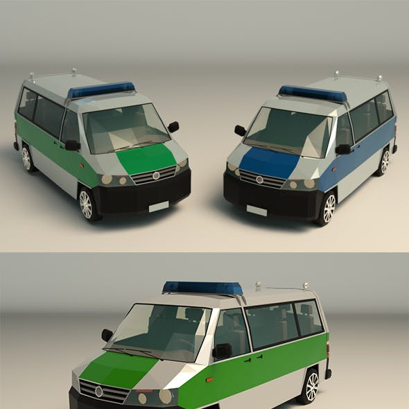 Low Poly Police Van 02