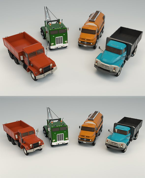 Low Poly Truck Pack 02 - 3DOcean Item for Sale