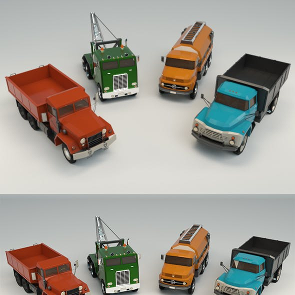 Low Poly Truck Pack 02