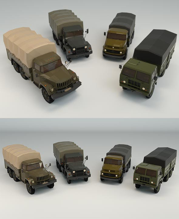 Low Poly Military Truck Pack - 3DOcean Item for Sale