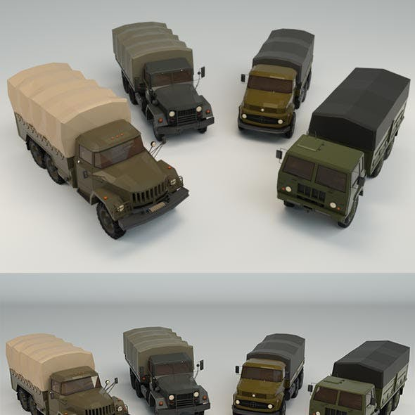 Low Poly Military Truck Pack